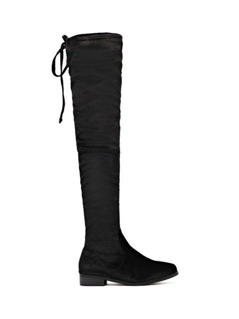 online Tie Up Zip Flat Heel Thigh Boots - BLACK 40 Mobile