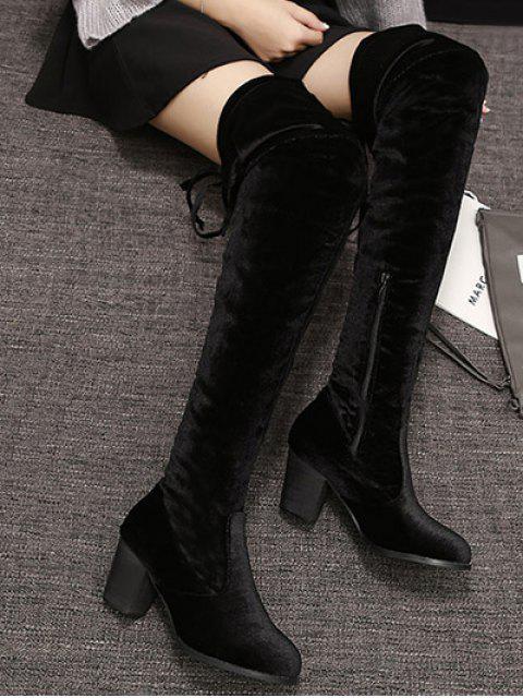 Bottes cuissardes en larges talons zippées à lacet - Noir 39 Mobile