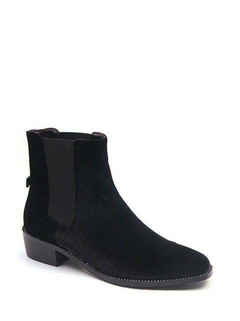 sale Splicing Flat Heel Elastic Band Ankle Boots - BLACK 38 Mobile