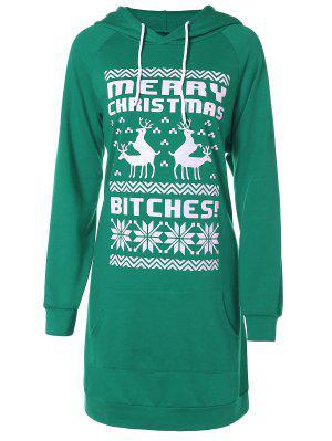 Impreso Con Capucha De Navidad - Verde L