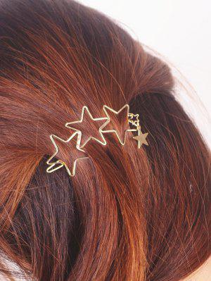 Hollow Out Star Hairpin - Golden