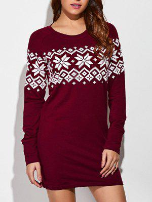 Raglan Sleeve Snowflake Pattern Dress - Red With White L