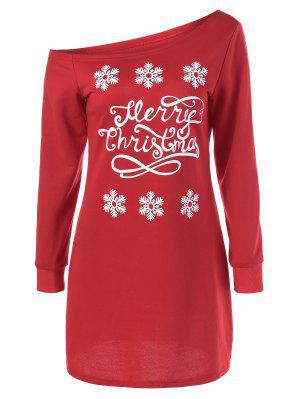 Snowflake Pattern Skew Collar Sweatshirt Dress - Red With White L