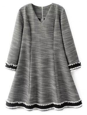 Frill Trim Long Sleeve A Line Dress - Gray M
