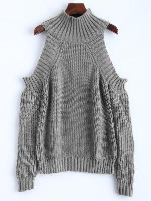 Cold Shoulder Funnel Collar Jumper - Gray