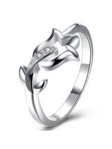 Rhinestone Flower Ring - Silver 8