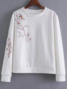 الأزهار الطيور مطرزة البلوز - أبيض M