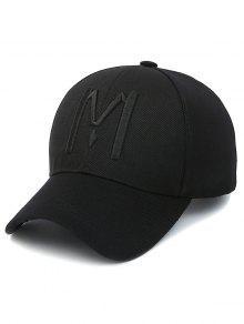 Casquette De Base-ball Avec Motif à Lettre M - Noir Profond