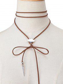 Buy Faux Leather Rhombus Velvet Choker Necklace - BROWN