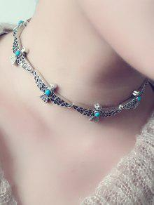 Buy Faux Turquoise Peace Dove Choker Necklace - SILVER