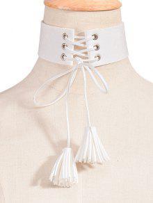 Buy Tassel Faux Leather Velvet Choker Necklace - WHITE