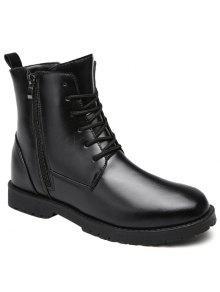 بو الجلود الدانتيل يصل الأحذية القتالية - أسود 43