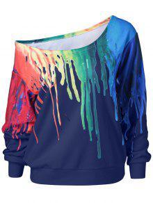 Skew Collar Dripping Paint Sweatshirt - Blue M