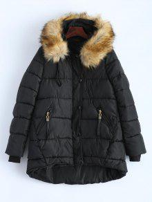 Buy Buttoned Puffer Coat - BLACK XL