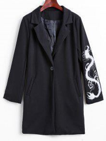 Lapel Collar Dragon Embroidered Coat - Black M
