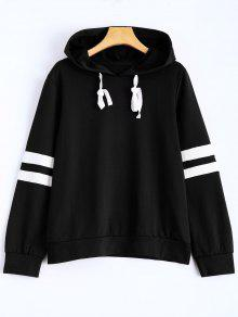 Stripes Pullover Hooded Sweatshirt - Black M