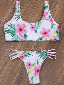 Zip Front Closure Floral Bikini - Blanc Xl
