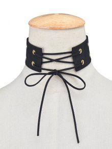 Faux Terciopelo Collar De Cuero Gargantilla Arcos - Negro