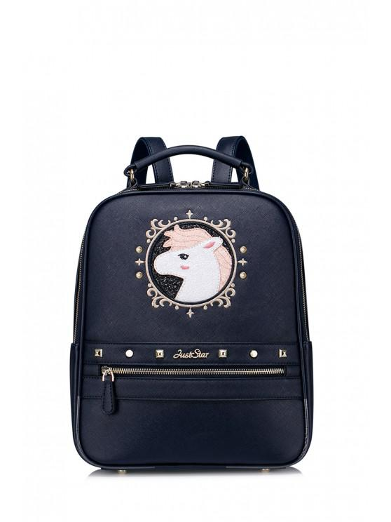 sale Embroidered Cartoon Sequins Backpack - DEEP BLUE