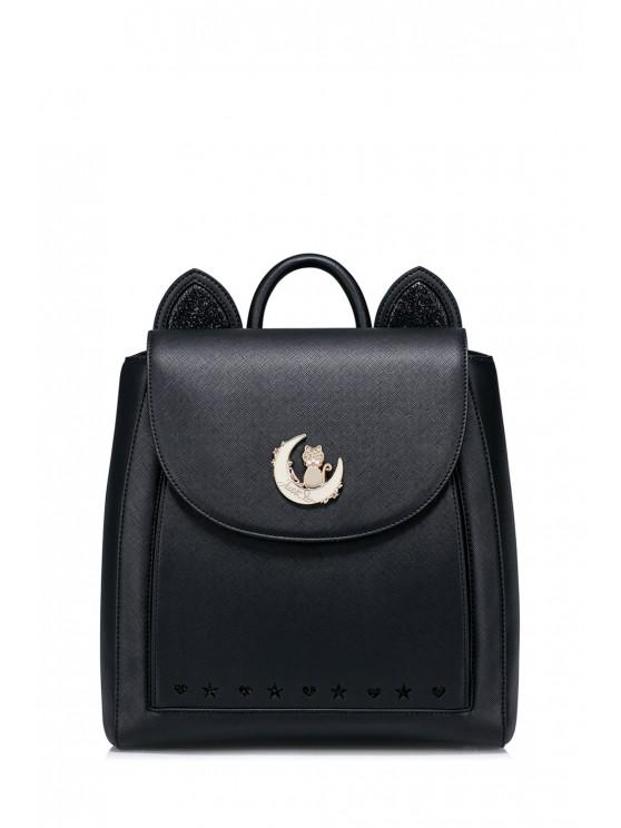affordable Moon Cat Ear Backpack - BLACK