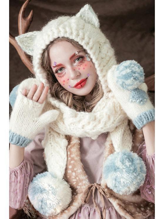 online Ball Spliced Cat Crochet Scarf Hat - WHITE