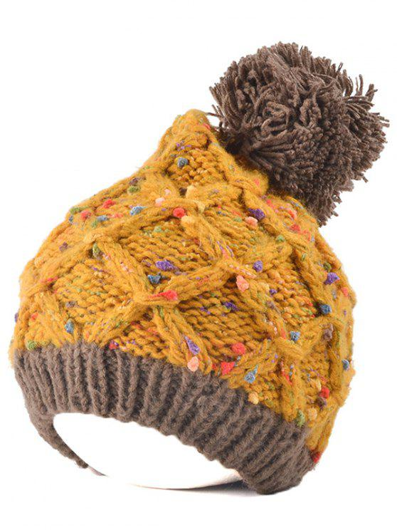 best Latticed Knit Ball Beanie - EARTHY