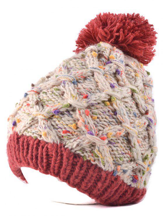 online Latticed Knit Ball Beanie - VERMILION
