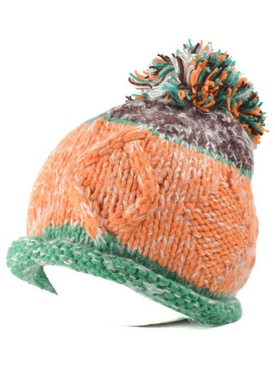 shops Rolled Edge Knit Ball Beanie - GREEN