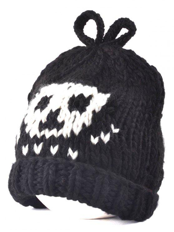 latest Skull Knit Bow Top Beanie - BLACK