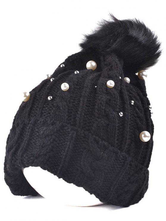 womens Faux Pearl Knit Ball Beanie - BLACK