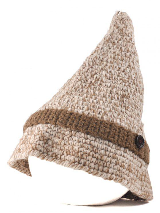 new Button Pointed Top Knit Beanie - BEIGE