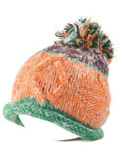 Rolled Edge Knit Ball Beanie - Green