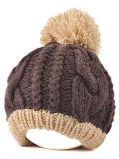 Twist Knit Ball Beanie - Coffee