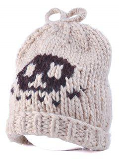 Skull Knit Bow Top Beanie - Off-white