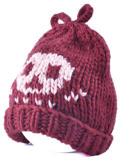 Skull Knit Bow Top Beanie - Claret