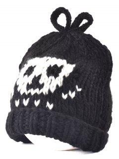 Skull Knit Bow Top Beanie - Black