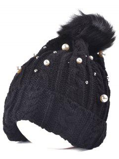 Faux Pearl Knit Ball Beanie - Black