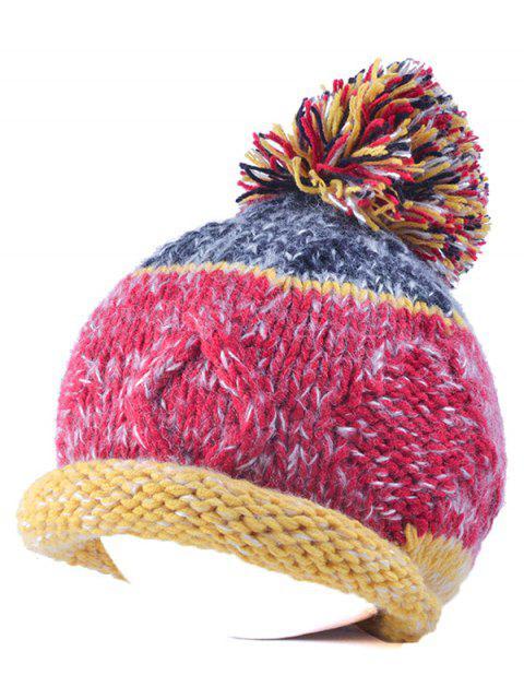 Bonnet tricoté pompon - Sangria  Mobile