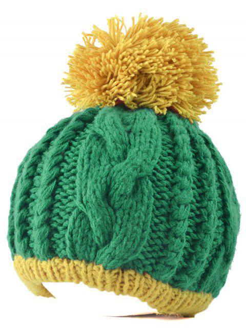 Bonnet femme tricoté pompon - Vert  Mobile
