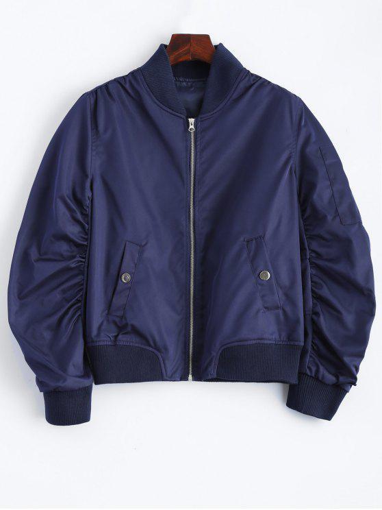 chic Pockets Bomber Jacket - DEEP BLUE L