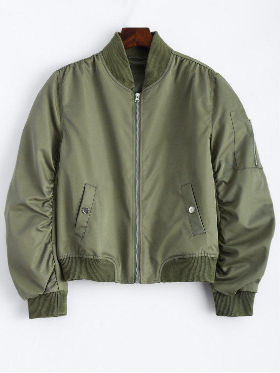 affordable Pockets Bomber Jacket - ARMY GREEN M