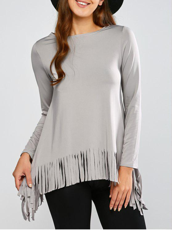 Asymmetrisches T-Shirt mit Fransen - Grau S