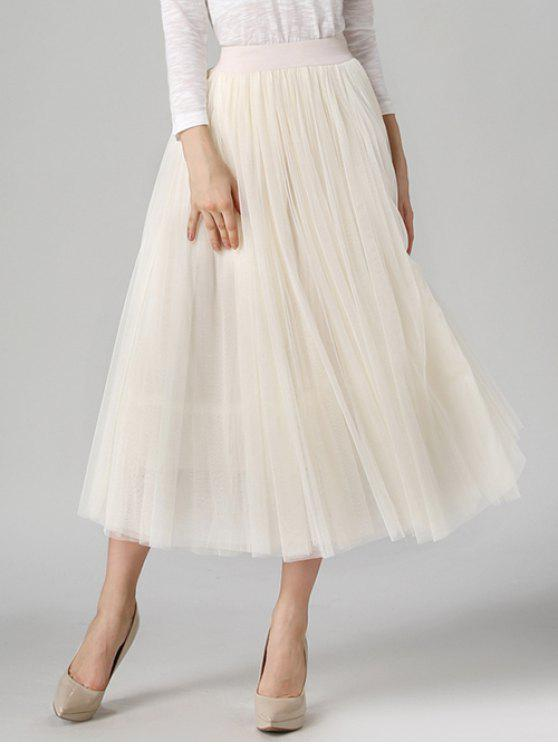 31b7e1af53 33% OFF] 2019 Tulle High Waist Midi Skirt In OFF-WHITE | ZAFUL