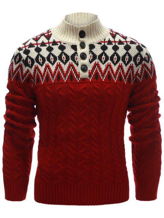 Zigzag Pulsante modello Up maglione cavo maglia - Rosso L