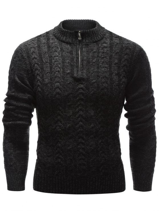 Stand Collar Half Zip Up Cable Knit Sweater BLACK: Sweaters ...