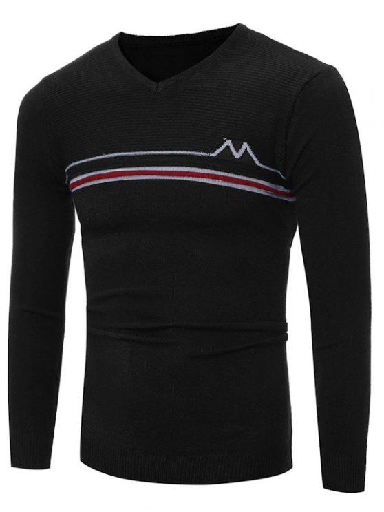 V-Ausschnitt Striped Selvedge verschönerte Stricken Pullover - Schwarz M