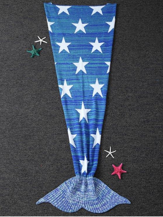 نجوم نمط محبوك حورية البحر الذيل بطانية - أزرق