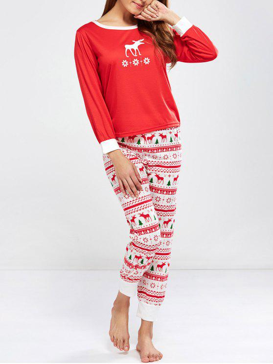 women Christmas Deer Print Long Sleeve Pajamas - RED L
