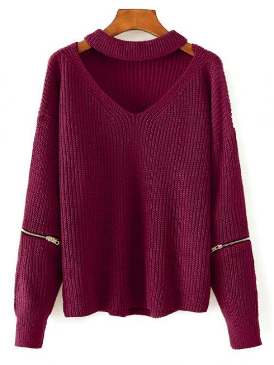 fancy Cut Out Chunky Choker Sweater - WINE RED ONE SIZE