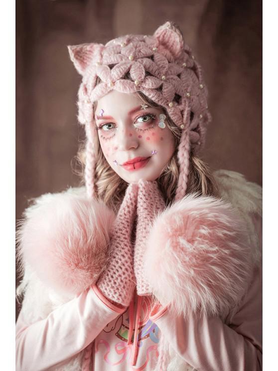 Sombrero de la bola de ganchillo flor del oído - Rosado Claro